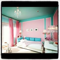 pink   aqua little girls room. Every room has to have a chandelier!!