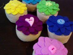 Felt cupcakes Felt Cupcakes, Tea Party, Create, Desserts, Food, Tailgate Desserts, Deserts, Essen, Postres