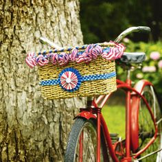 Patriotic Celebration Decorated Bike Basket, perfect for the parade!