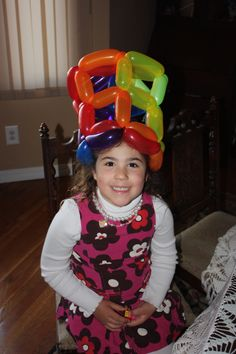 Rainbow Balloon hat