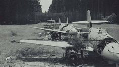 Several ME-262, found allies in the forest clearing in Horgau, not far from Augsburg, after the capitulation of Germany.