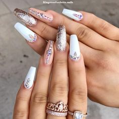 Snazzy Coffin Nails With Precious Stones That You'll Adore #rhinestonesnails #glitternails #whitenails ❤️ You have to see these coffin nail designs for inspiration if you are looking for a fresh design for them. Check out our trendy ideas for coffin nails and get inspired. ❤️ See more: https://naildesignsjournal.com/coffin-nail-designs/ #naildesignsjournal #nails #nailart #naildesigns #coffinnails #longcoffinnails #longacrylicnails #acrylicnails #coffinnailsshape #longnails