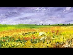 How to paint a Field of Flowers: Acrylic Landscape painting Lesson. - YouTube