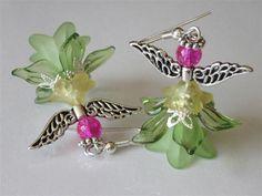Garden Fairy Dangle Earrings Elegant Angel Beaded Green Sprite Lucite Flower Earrings Fantasy Summer Weddings Spring Trends or a cute idea for girls. Angel Earrings, Beaded Earrings, Earrings Handmade, Beaded Jewelry, Handmade Jewelry, Stone Earrings, Silver Jewelry, Hoop Earrings, Bead Crafts