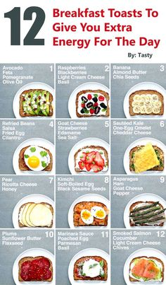 12 Breakfast Toasts To Give You Extra Energy For The Day Gwyl io is part of Healthy breakfast menu - These breakfast toast ideas will give you just what you need and are complete with healthy ingredients and yummy combinations that Healthy Breakfast Menu, Breakfast Toast, Breakfast Energy, Light Breakfast Ideas, Fast Breakfast Ideas, Diet Breakfast, High Protein Breakfast, Foods High In Protein, Pre Workout Breakfast