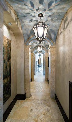 hall, lighting, ceiling