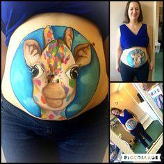 Giraffe bump painting done by me #giraffe #bump #painting #bodyart #makeup #sfx #facepaint #pregnancy #mother #beautiful #baby #inspiration