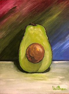 avocado Avocado, this wonderful fruit will always bring me to Mexico; the flavours, freshness and availability is but a dream for us Canadians.  My to paint list had a few food pieces waiting to join the party, so first came Pear, then Avocado arrived waiting for Banana's and Eggplant who have now arrived.  No poetry about Avocado, it simply makes me hunger for guacamole and corn chips, simple taste that is great. Corn Chips, Eggplant, Guacamole, Pear, Avocado, Banana, Fruit, Waiting, Mexico