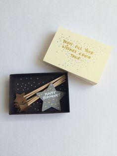 Happy Birthday greeting card / make a wish / miniature wand / star / gift box / gift card diorama - Diy Gifts Ideas Happy Birthday Greeting Card, Birthday Cards, Birthday Wishes, Birthday Quotes, Diy Birthday Box, Handmade Birthday Gifts, Happy Birthday Gifts, Birthday Images, Birthday Presents
