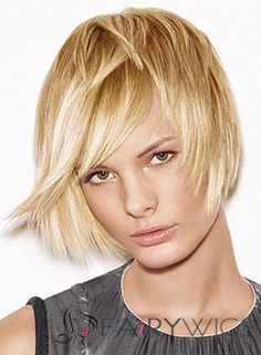 New Style Capless Short Straight Blonde Remy Hair Wig