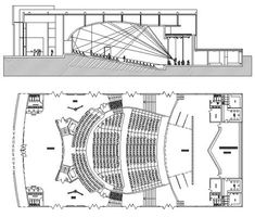 Theatres dwg - audiences - galleries - theater dwg - Projects to Try Auditorium Plan, Auditorium Architecture, Theater Architecture, Auditorium Design, Architecture Drawings, Architecture Plan, Architecture Details, Theatre Section, The Plan