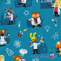 Michael Miller Fabrics Lab Animals Turquoise via Pink Chalk Fabrics #fabric #sewing #science