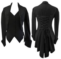 8-30 BLACK VICTORIAN GOTHIC CORSET FISHTAIL MOCK WAISTCOAT BUTLER JACKET COAT design by Amber Middaugh | eBay