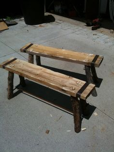 RUSTIC Utah Item # 20: Rustic wood bench with iron straps and log legs