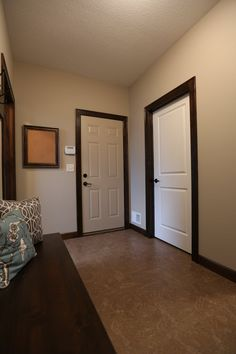 Interior Doors | white molded panel doors with dark stained casing | Bayer Built Woodworks
