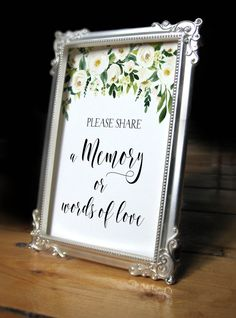 cyber monday,printable Share a momory sign, funeral memory sign, memorial sign, memorial service ide Funeral Reception, Memory Table, Funeral Memorial, In Memory Of Dad, Memory Books, Cyber Monday, First Love, Funeral Ideas, Funeral Planning