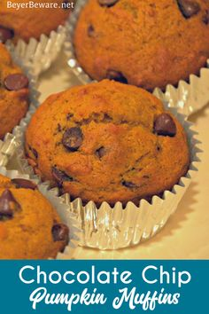 Pumpkin chocolate chip muffins are a staple of fall snacks and breakfast made from scratch with canned pumpkin and plenty of chocolate chips to make the kids feel like they aren't eating healthy food. #Pumpkin #ChocolateChip #Muffins #FallFood Brunch Recipes, Fall Recipes, Great Recipes, Healthy Foods To Eat, Eating Healthy, Healthy Recipes, Pumpkin Muffin Recipes, Pumpkin Chocolate Chip Muffins, Fall Snacks