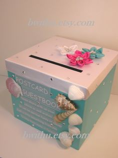 Wedding Card Box Gift Holder Custom Post Sea Party Theme