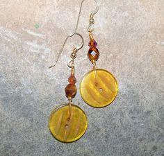 Handmade Button Earrings Golden Vintage Buttons by RaesSpirit