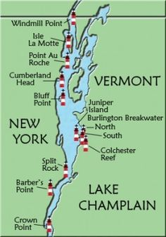 """Champlain Lighthouse Map VT That peninsula at the top of Lake Champlain where you see """"Windmill Point"""", that's where I come from y'all! East Coast Travel, East Coast Road Trip, New England States, New England Travel, Voyage Usa, Lake George, Travel Usa, Beach Travel, Spain Travel"""