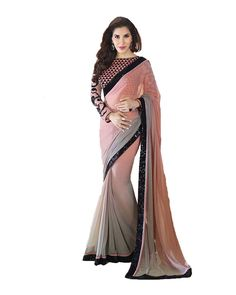 Peach color georgette bollywood saree. This Saree Is Totally Fashion Saree Designed Completely As Per The Needs Of Women And Women Looks Beautiful When
