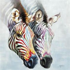 A pair of zebra heads painted in soft tones of red, yellow, blue, green, and purple stand out on a pale gray background.