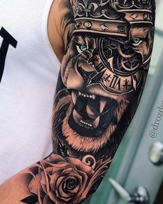 Cover Up Tattoos For Men, Half Sleeve Tattoos For Guys, Hand Tattoos For Guys, Best Sleeve Tattoos, Tattoo Sleeve Designs, Tattoo Designs Men, Lion Forearm Tattoos, Outer Forearm Tattoo, Lion Head Tattoos