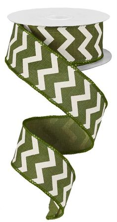 1.5 Moss Green White Chevron Ribbon Moss by CustomWreathDecor