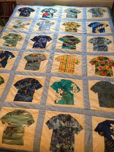 """Hawaiian shirt quilt.  """"I bought the material on vacation in Hawaii."""" - Cindy Murto"""