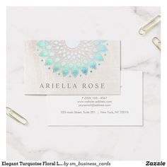 Elegant Turquoise Floral Lotus White Marble Business Card