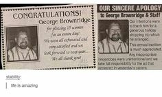Who demanded that apology? George, or his wife? ;)