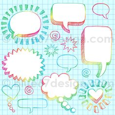 Hand-Drawn Sketchy Notebook Doodle Comic Speech Bubbles Design Elements- Vector Illustration by blue67design   Flickr - Photo Sharing!