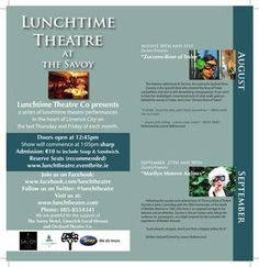 August and September Shows Local Hero, Lunch Time, Theatre, September, Theatres, Theater