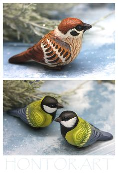 Bird Figurine Animal Sculpture by Evgeny Hontor, Totem polymer clay figures for Home decor, polymer clay animal for collecting. Painted and unpainted Animal Sculpture gifts for dragon lovers. Look at the best collection of 800+ miniatures of fantasy creatures, beasts and aliens #Bird