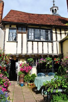 The 15th century Clock House Tea Rooms at Coggeshall, Essex, England