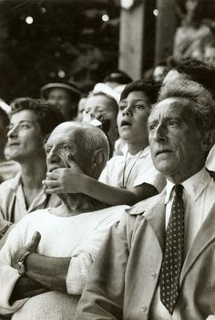 Pablo #Picasso, his son Claude and Jean Cocteau at a Bullfight, Vallauris, France, 1955