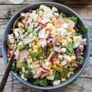 Grilled corn is the star of a this Mexican chopped salad recipe. Cotija, a crumbly cheese that adds a salty note to the dish, is available at Latin grocers. Mexican Chopped Salad, Chopped Salad Recipes, Slaw Recipes, Mexican Food Recipes, Healthy Recipes, Chinese Recipes, Vegetarian Recipes, Paleo, Cast Iron Recipes