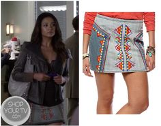 Shop Your Tv: Pretty Little Liars: Season 3 Episode 18 Emily's Embroidered Denim Mini Skirt Pretty Little Liars Emily, Pretty Little Liars Seasons, Pretty Little Liars Fashion, Pll Outfits, Other Outfits, Denim Mini Skirt, Mini Skirts, Jean Skirts, Chiffon Maxi Dress