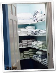 towels on one side & bedding sets on the other!