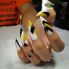 black and white with yellow abstract chevron zig zag  nail art