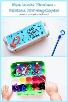 Colorful fishing - small DIY fishing game- Das bunte Fischen – Kleines DIY-Angelspiel The colorful fishing – fishing game for toddlers for … - Sensory Activities Toddlers, Games For Toddlers, Infant Activities, Make Your Own, Make It Yourself, Diy Bebe, Montessori Materials, Creative Play, Baby Play