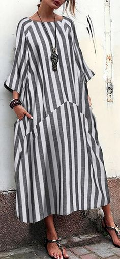 Vintage Striped Patchwork Pockets Plus Size Maxi Dress. - Plus Size Maxi Dresses - Ideas of Plus Size Maxi Dresses Long Linen Dresses, Plus Size Maxi Dresses, Summer Dresses, Over 60 Fashion, Maxi Robes, Fashion Tips For Women, The Dress, Women's Fashion Dresses, African Fashion