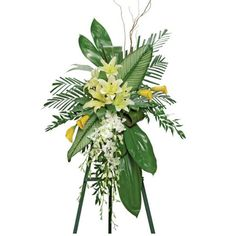 ... and Ti Leaves Standing Funeral Spray, Nationwide Funeral Flower D