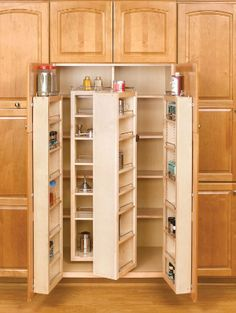 This is a cabinet pantry by Rev-A-Shelf. These kitchen pantries are available in heights of 45 inch, 51 inch and 57 inch . The cabinet storage pantries feature adjustable shelves with chrome rails, adjustable door mount brackets, and top storage shelf. Tall Kitchen Cabinets, Kitchen Pantry, New Kitchen, Kitchen Decor, Kitchen Ideas, Pantry Ideas, Pantry Cabinets, Awesome Kitchen, Kitchen Layout