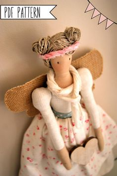 Pdf sewing pattern Fairy Stuffed doll Fairy toy pattern FREE