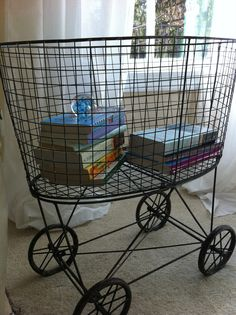 Wire laundry basket on wheels is a kind of wire basket for washing clothes storage. Laundry Basket On Wheels, Wire Laundry Basket, Laundry Hamper, Laundry Room, Old Baskets, Vintage Baskets, Wire Baskets, Picnic Baskets, Vintage Laundry