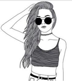 noir et blanc, dessin, mode, fille
