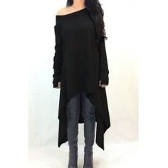 Casual Skew Neck Solid Color Long Sleeve Asymmetric Dress For Women | TwinkleDeals.com