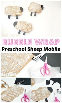 Bubble Wrap Crafts - easy Bubble Print Sheep Mobile Craft for Preschool. Make these Bubbel Wrap Puffy Sheep. #preschool #bubblewrap #printing #recycling #sheep #lamp #roomdecor