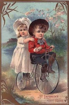 1890's COFFEE GROCERY ADVERTISING CHILD VICTORIAN BIKE TRADECARD POSTER 316235